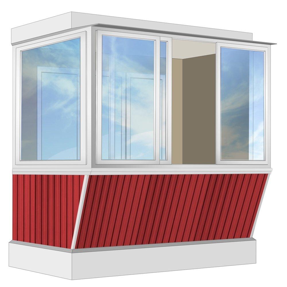 Остекление балкона алюминиевое provedal с выносом и отделкой.