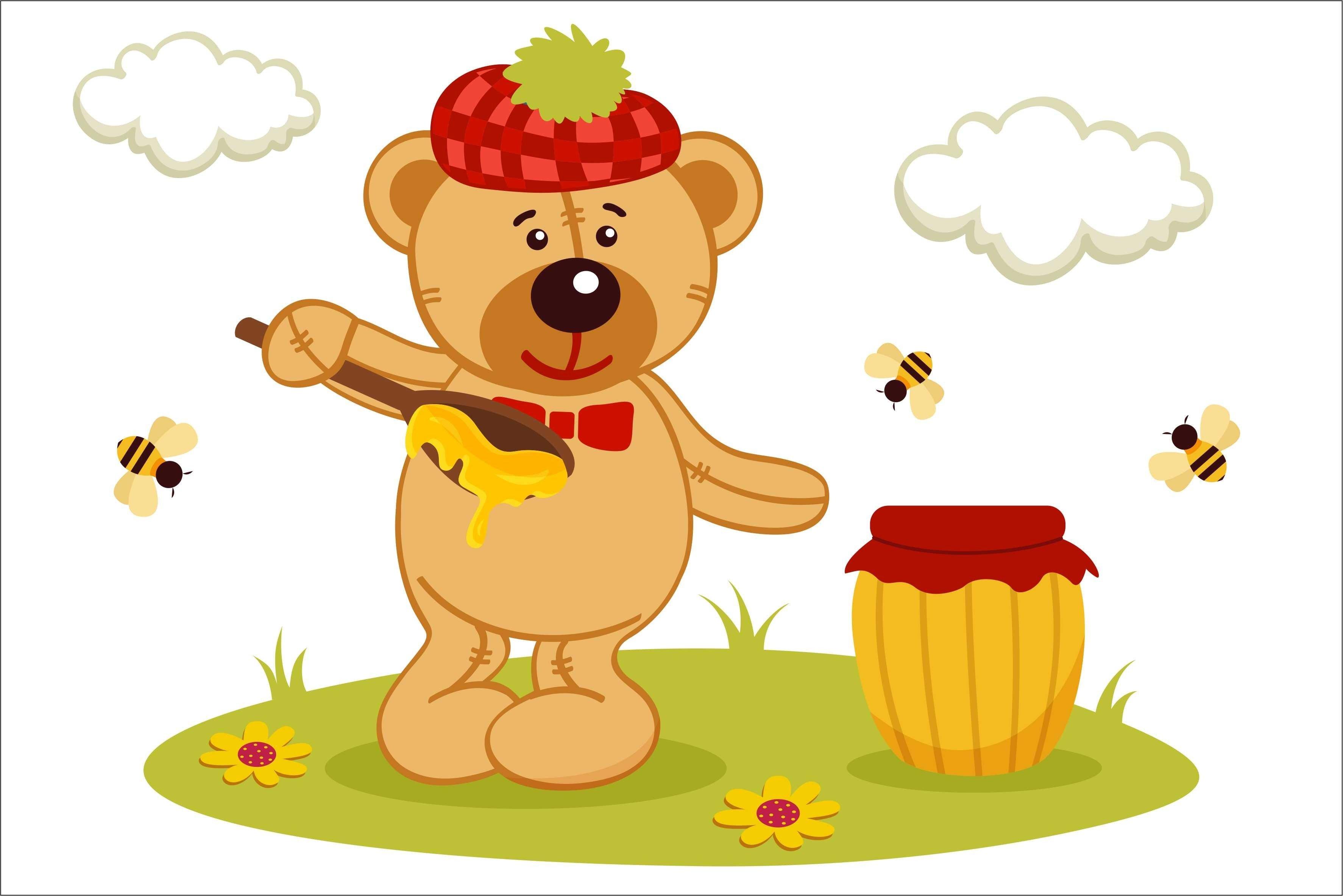 Медведь с бочонком меда открытка, магазин открыток