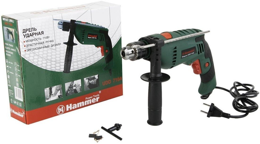 дрель ударная hammer udd710a цена